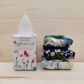 Pack de 3 compresas de tela lavables eco + copa menstrual Naturcup