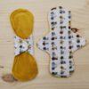 Compresa de tela lavable eco Súper Absorbente BICICLETAS-MOSTAZA